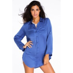 Blue Silky Utility Shirtdress