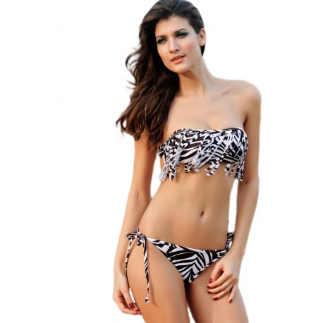 Zebra Printing Tassel Bikini