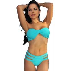 Blue Bandeau Strappy Padded Bikini