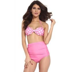 Vintage Style Pink Two Pieces Twist Polka Bikini