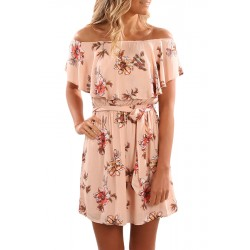 Floral Print Nude Off Shoulder A-line Dress