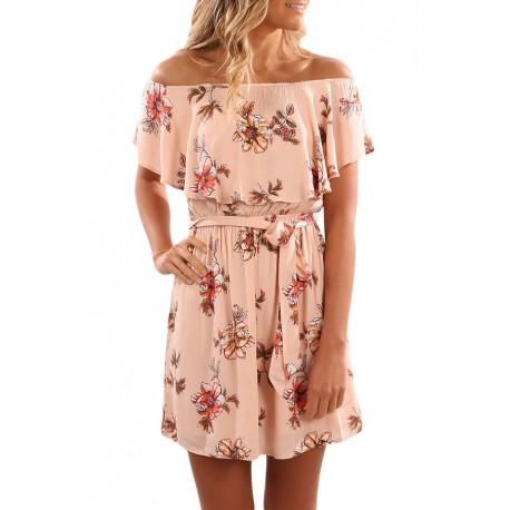 Floral Print Nude Off Shoulder A-line Dress