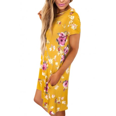Yellow Cross Strap Neck Summer Floral Dress