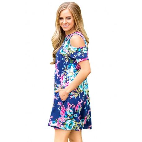Ruffled Cold Shoulder Blue Floral Dress