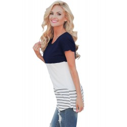 Blue Color Block Striped Long Top
