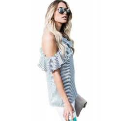 Striped One Sided Ruffle Top