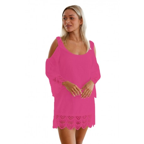 Rosy Lacy Crochet Trim Crinkle Cold Shoulder Beachwear