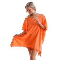 Orange Pom Pom Tassel Hem Gauze Cover up