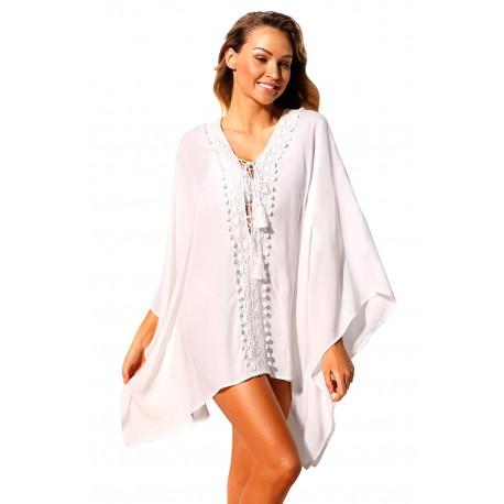 White Crochet Applique Tassel Tie Beach Kaftan