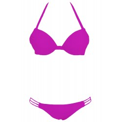 Purple Push up Strappy Halter Bikini Swimwear