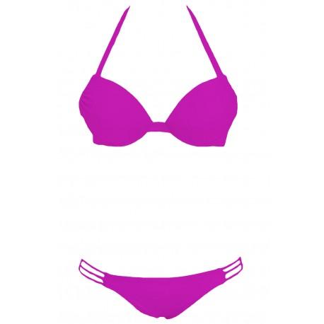 Purple Push up Strappy Halter Bikini Swimwear
